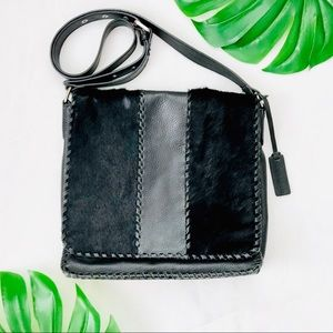 Aqua Madonna black calf hair crossbody handbag